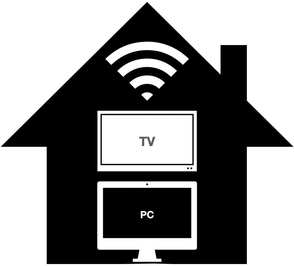 Ikon av hus med wifi, smart-tv og PC
